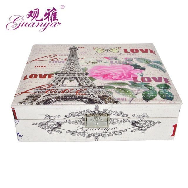 Guanya Large leather jewelry box double layer Ring earrings watch storage case print towel/big ben etc. wedding birthday gift