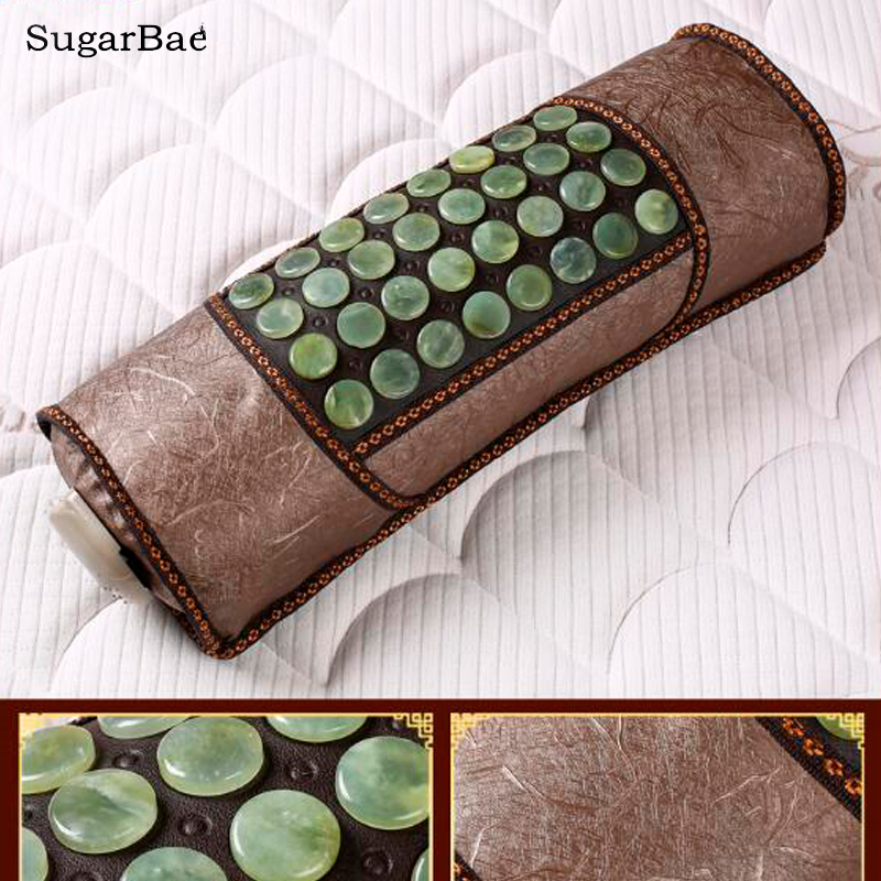 2017 Natural Jade Pillow Infrared Health Care Pillow Tourmaline Physical Therapy Good Sleep Pillow 2 sets ball the plum flower jade handball furnishing articles hand bead natural jade health care gifts