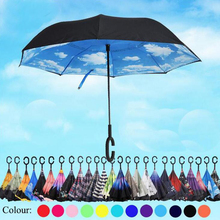 Windproof Reverse Folding Double Layer Inverted Chuva Umbrella Self Stand Inside Out Rain Protection C-Hook Reverse Umbrella 467