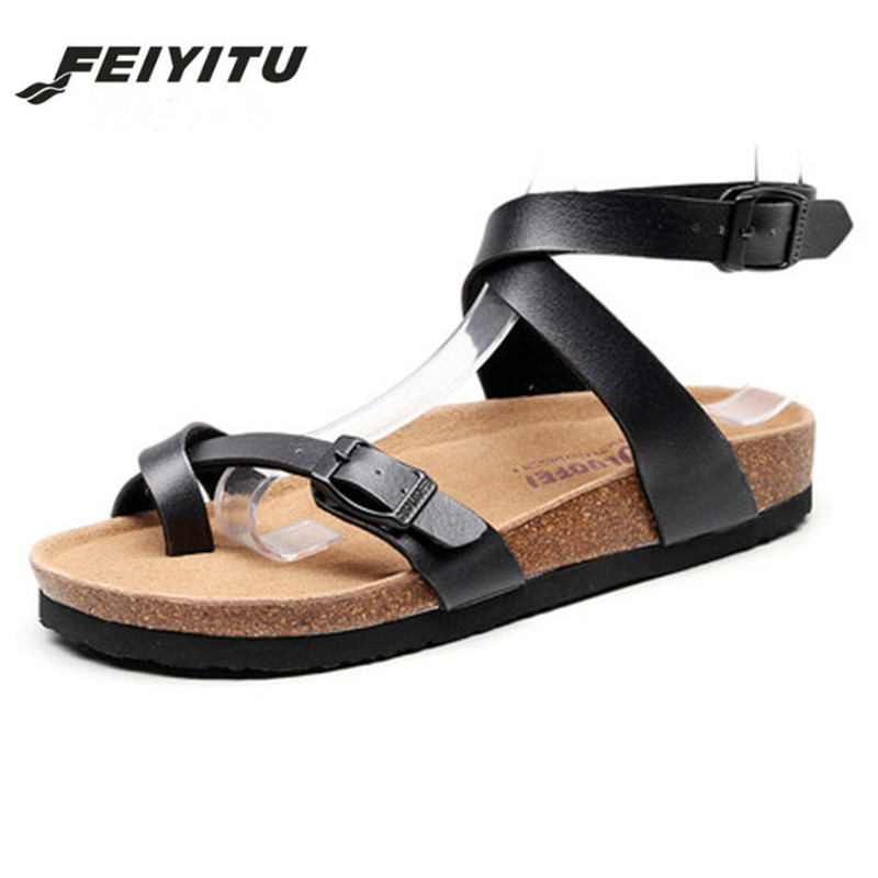 FeiYiTu Summer Women 39 s Flat bottomed pedal sandals feminina belt buckle shoes female comfort Roman sandals plus size 35 42 Black in Low Heels from Shoes