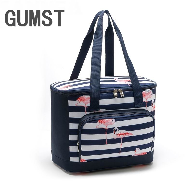 Us 9 3 50 Off Gumst 2018 New Design Flamingos Thermo Lunch Bags Picnic Bag Women Handbag Cooler Insulated Box Thermal For Kids In
