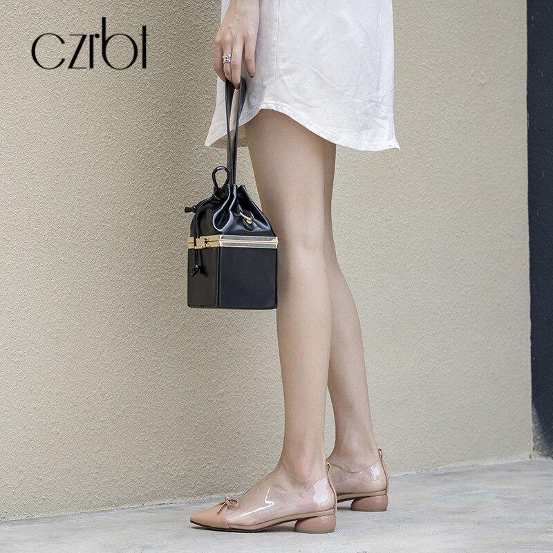 CZRBT/Летняя женская обувь на плоской подошве; повседневные Лоферы без застежки; женская обувь с острым носком; прозрачные босоножки из пвх; 2018; женская кожаная обувь - 2