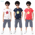 2017 new summer style fashion 100% Cotton print star Baby boy t-shirt with half pants boy sport clothes suits Kids clothing set
