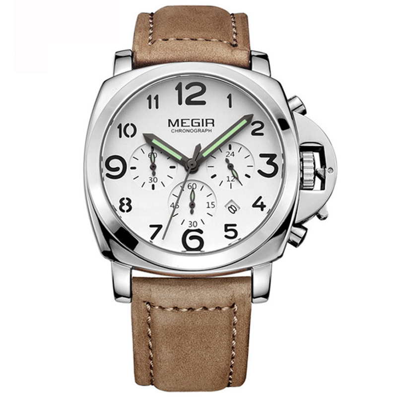 Megir Big Face Watch Men Luxury Brand Men's Wrist Watch Relogios Masculino Quartz Military Sport Watch Genuine Leather Xfcs