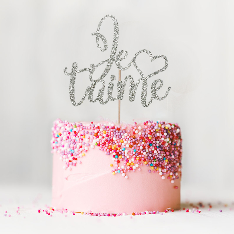Je T'aime Cake Topper - Glitter tema de París Decoración de bodas - Para fiestas y celebraciones - foto 6