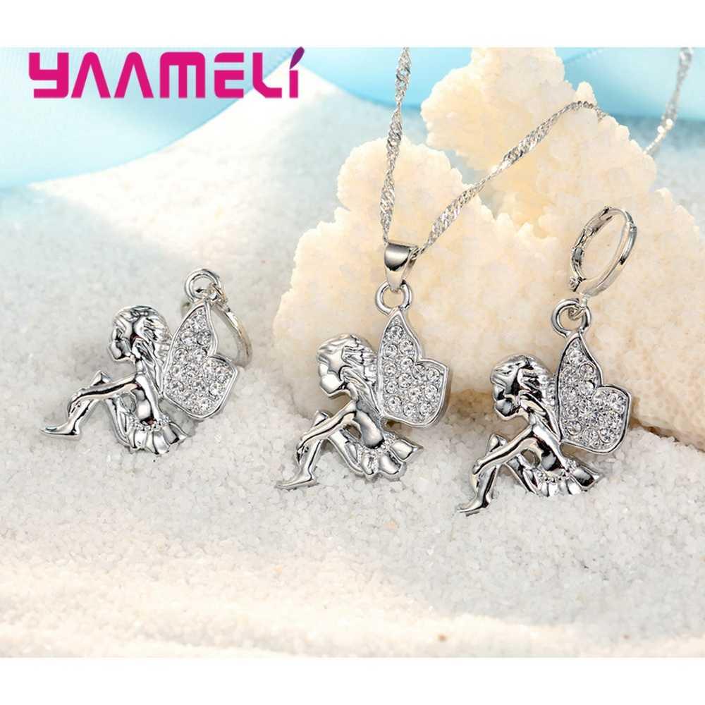 925 Sterling Silber Halskette + Ohrringe Schmuck-Set Mysterious Romantische Stil Fee Modellierung Für Kleine Mädchen Vorhanden