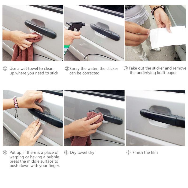 VOSAREA Car Door Handle Paint Scratch Protector Sticker Auto Door Handle Scratch Cover Guard Protective Film