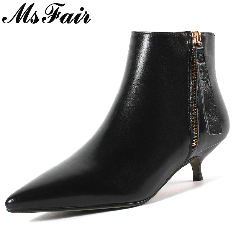 MSFAIR Pointed Toe Med Heel Women Boots Casual Fashion Zipper Ankle Boots Women Shoes Concise Thin Heels Ankle Boots Shoes Woman msfair pointed toe super high heel women boots fashion zipper ankle boots women shoes elegant thin heels black khaki boots shoes