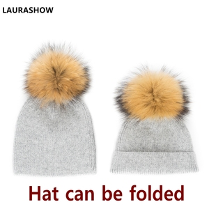 Image 3 - LAURASHOW 2019 Autumn Winter Baby Beanie 15 16cm Real Fur Pompoms Warm Sleep Wool Cap Kids Clothing Accessories Hat