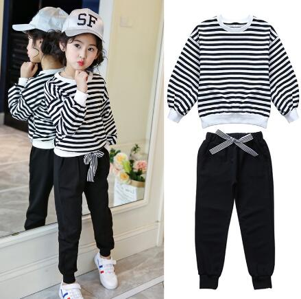 Kids Clothes Outfits Girls Spring Autumn Long Sleeve Striped Tops +Pants Set Children Clothing Girls Casual Sports Suit