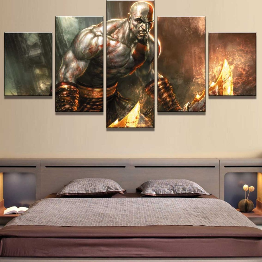 5 Piece HD Print Large God Of War Game Cuadros Decoracion Paintings on Canvas Wall Art for Home Decorations Wall Decor Artwork