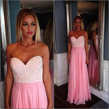 Sexy Pink Long Evening Dress 2017 Beaded Pearls Sweetheart Neckline Vestido De Festa Party Prom Gowns