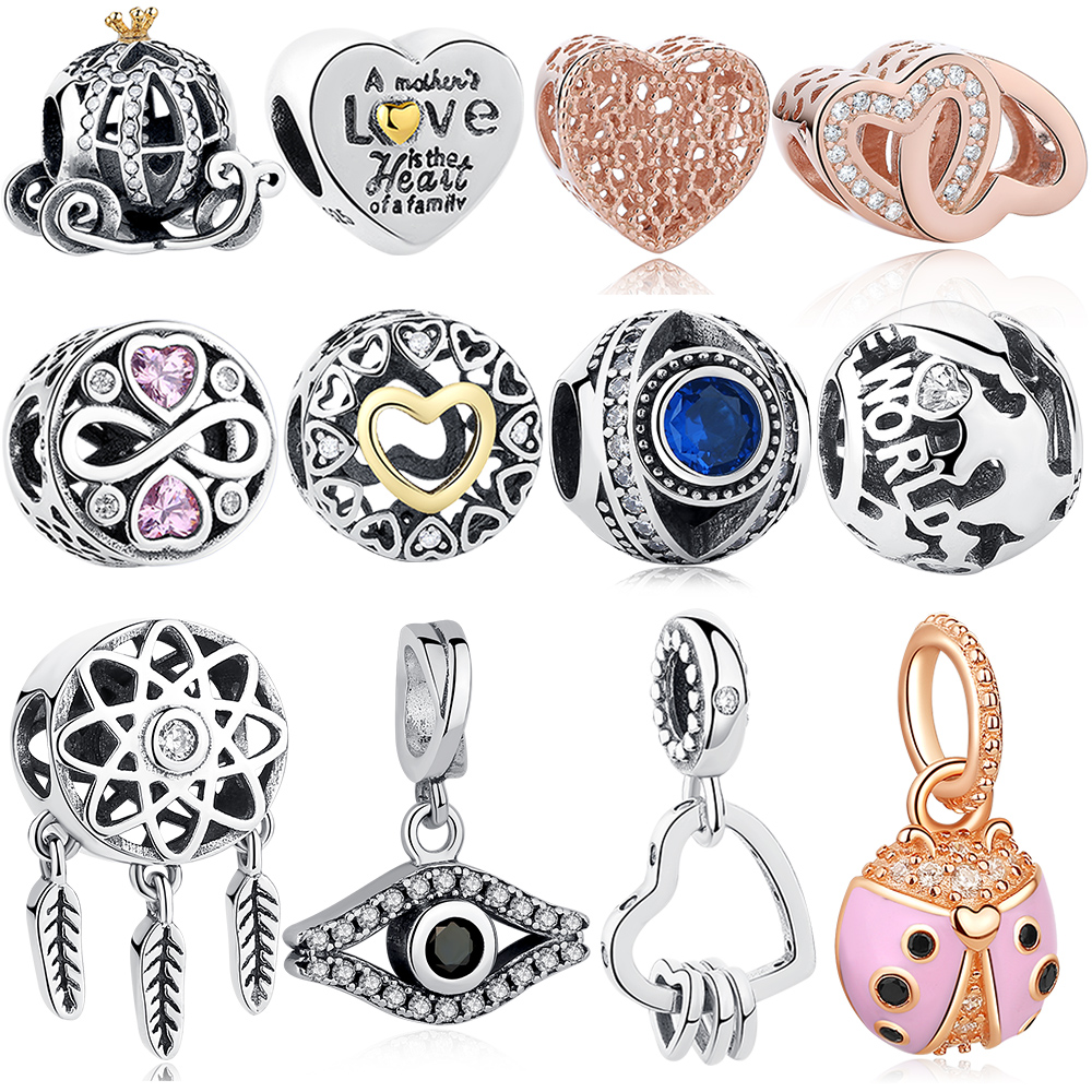 EVOJEW 925 Sterling sølv Crystal Pumpkin Car Heart Perler Trendy Animal Charm Fit Pandora Original armbånd Kvindesmykker