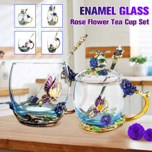 Enamel Transparent Glass Coffee Tea Mug Blue Roses Heat-Resistant Cup Set with Stainless Steel Spoon Coaster and Wipe Cloth(China)