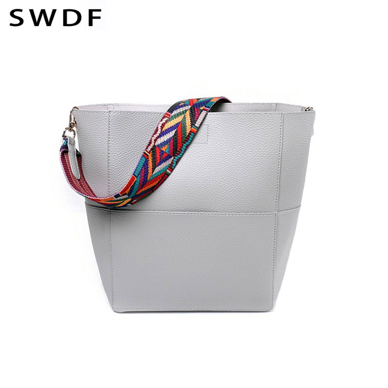SWDF NEW Brand Designer Bucket bag Women Leather Wide Strap Shoulder bag  Handbag Large Capacity Crossbody bag Bolsas Sac A Main-in Top-Handle Bags  from ... d404e98519761