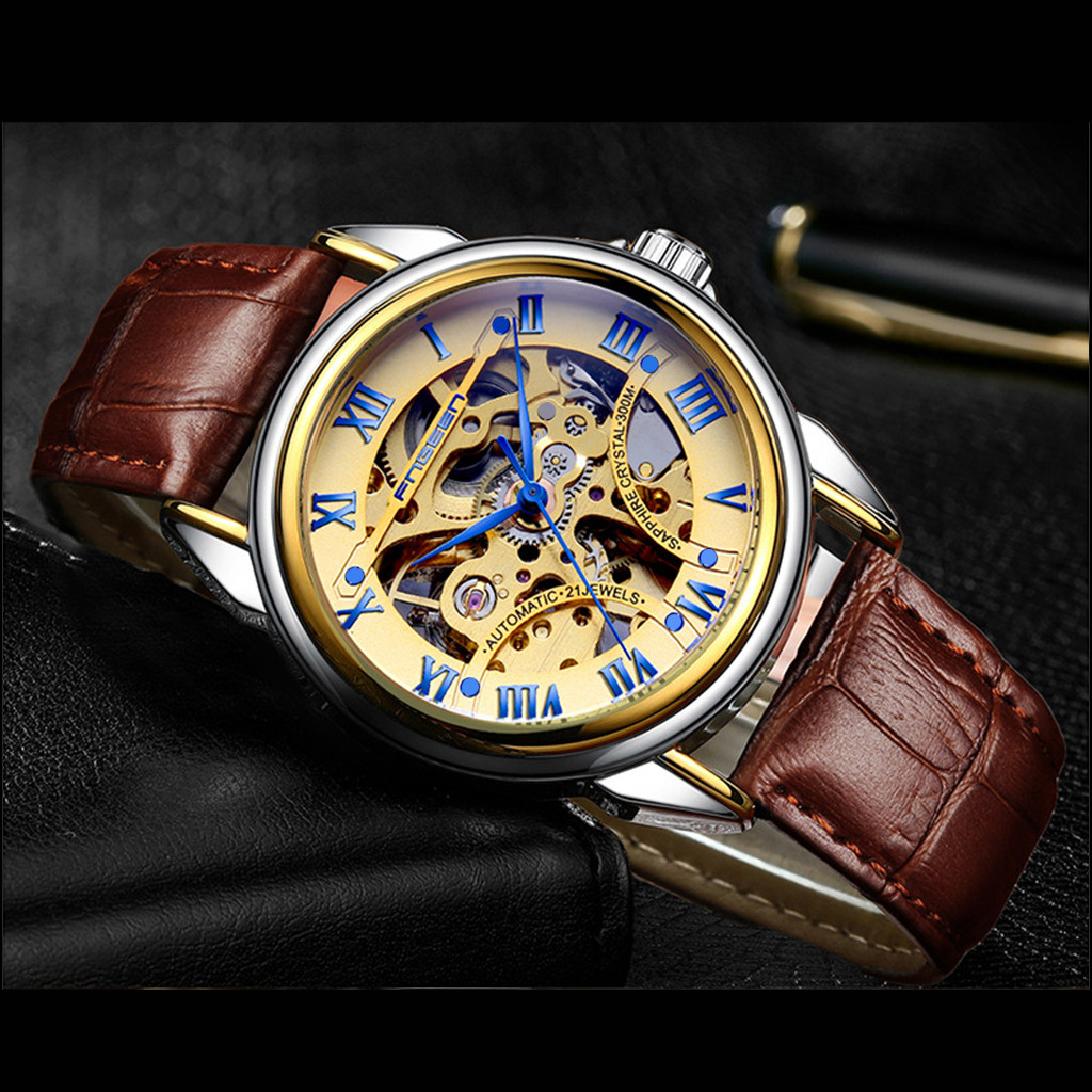 Men Watch Mechanical Skone Water-Resistant FNGEEN Strap Relogio Mujer Masculino LD