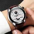 Relogio Masculino CRRJU Männer Leder Uhr Neue Männliche Automatische Datum Quarz Uhren Herren Luxus Marke Big Gesicht Sport Uhr 2019-in Quarz-Uhren aus Uhren bei