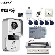 JERUAN 720P WiFi Video Door phone Intercom kit Wireless Record Doorbell For Smartphone Remote View Unlock 180KG Magnetic lock