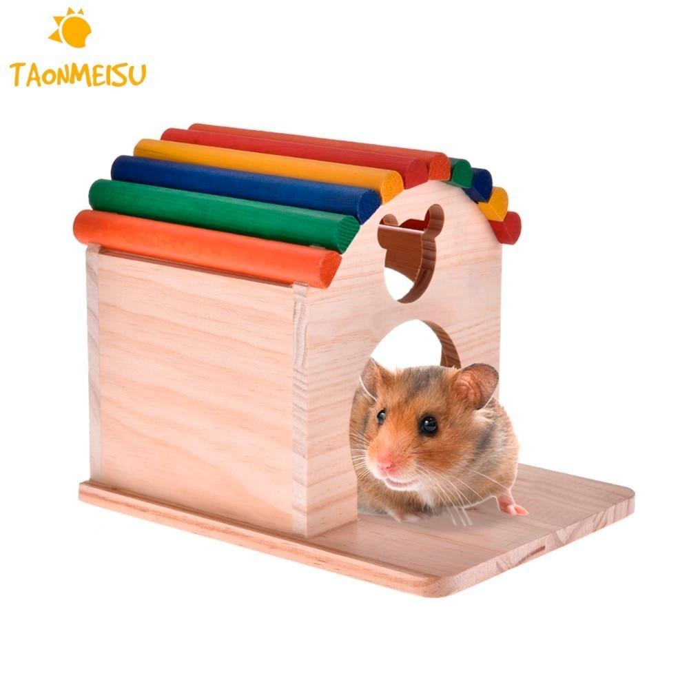Legno Piccolo Animale da compagnia Capanna casa Criceto Estate Letto Casa Nido Criceto guinea pig riccio chew toy Fissato Sulla Gabbia