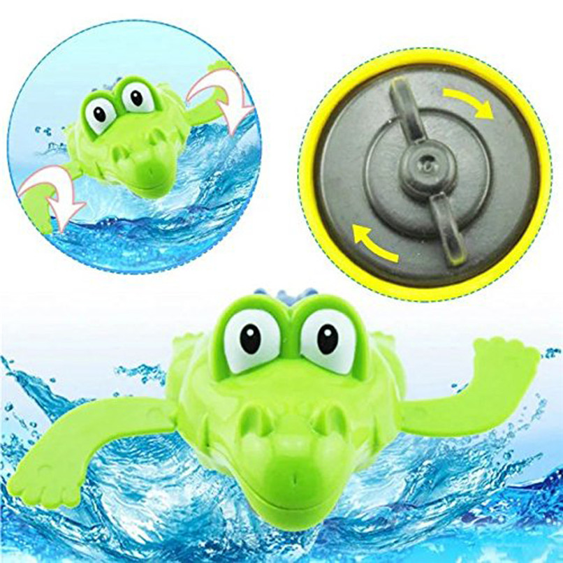 Dabbling Toy Random Color Cartoon Plastic Crocodile Wind Up Clockwork Toy Bath Toys Baby Shower Toys suit for tub or pool JE07