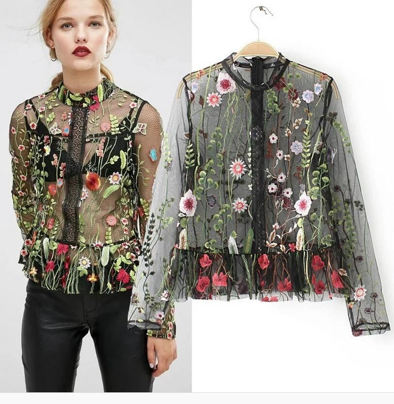 Ky&Q Sexy Mesh Flower Embroidery Tops Women Blouses 2017 Woman Shirt - Women's Clothing - Photo 1