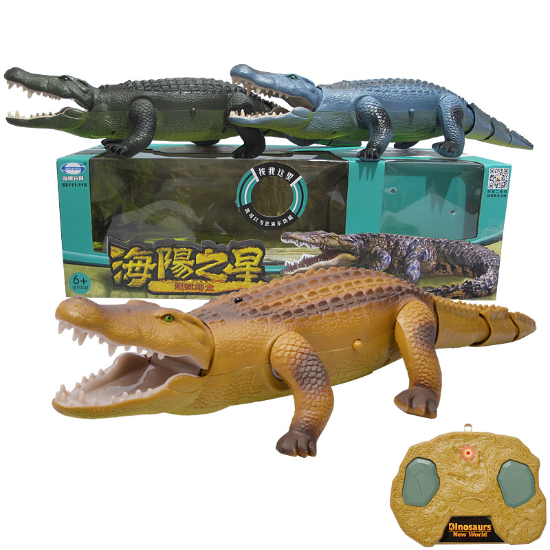 Hot Electric remote controlled crocodile toy for children Walking luminous sounded animal model