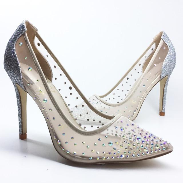 e0afde37b silver bling fashion design women s high heel pumps summer see through  Party Wedding stiletto shoes 10cm thin heels