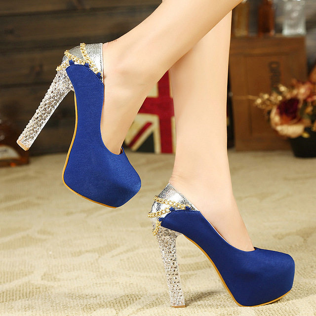 f274199768a 2016 New Platform Beautiful Block Heel Wedding Shoes Women Pump Party Dance  Sexy Metal Chain Crystal High-Heeled Shoes Pupm Wild