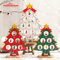 Christmas Tree Creative DIY Wooden Christmas Gifts Mini Festival Party New Year Door Wall Hanging Home Decoration Ornaments