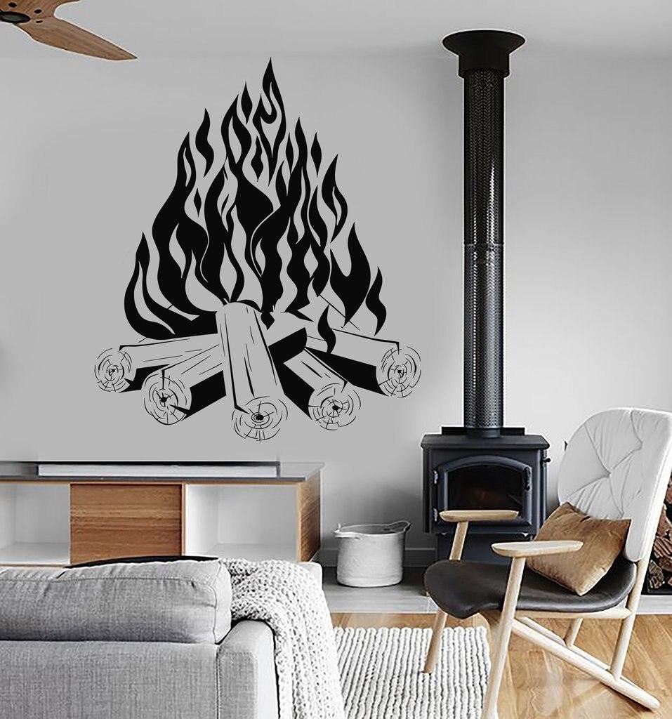 Костер Кемпинг Наклейки на стену съемный виниловые наклейки на стены огонь камина Книги по искусству Дизайн обои Декор Гостиная