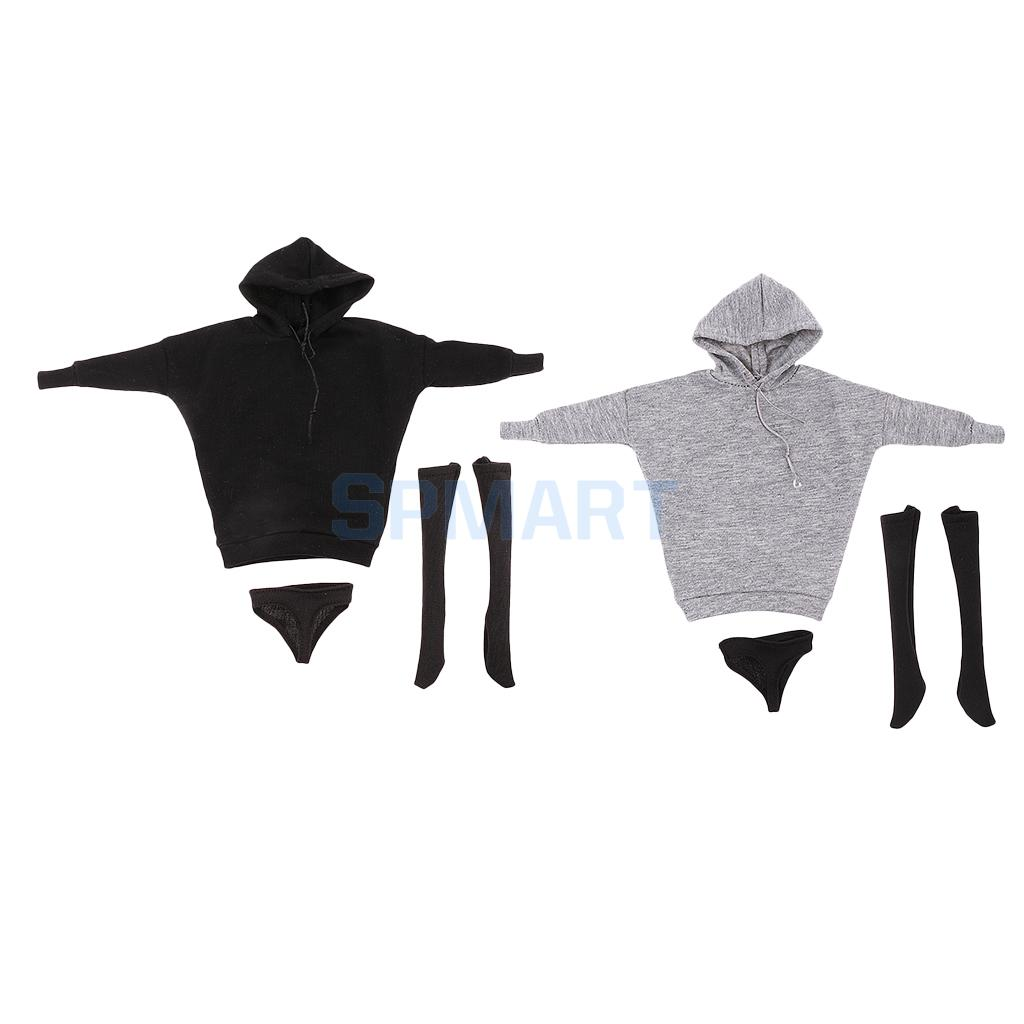 1/6 Street Style Hoodie Sweatshirt+Stocking+Briefs for 12inch Hot Toys Phicen Kumik Figure Body 3d two cats style hoodie for man