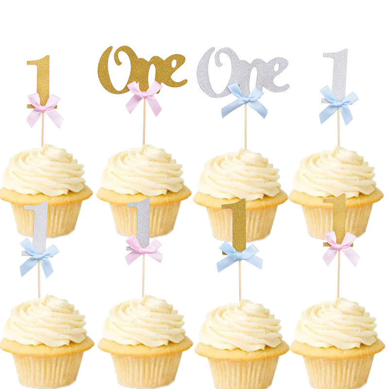 10Pcs First <font><b>Birthday</b></font> Cake Cupcake Topper 1st Party <font><b>Decorations</b></font> Baby Boy <font><b>Girl</b></font> I AM ONE Year Gold <font><b>1</b></font> Anniversary Supplies image