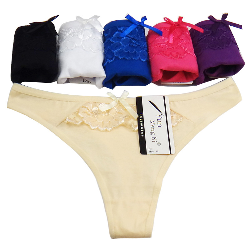 5 pcs/lot Women Underwear Thongs Ladies Briefs M L XL Sexy Lace Thongs Cotton Womens G Strings Femme Sexy Womens Thong Panties