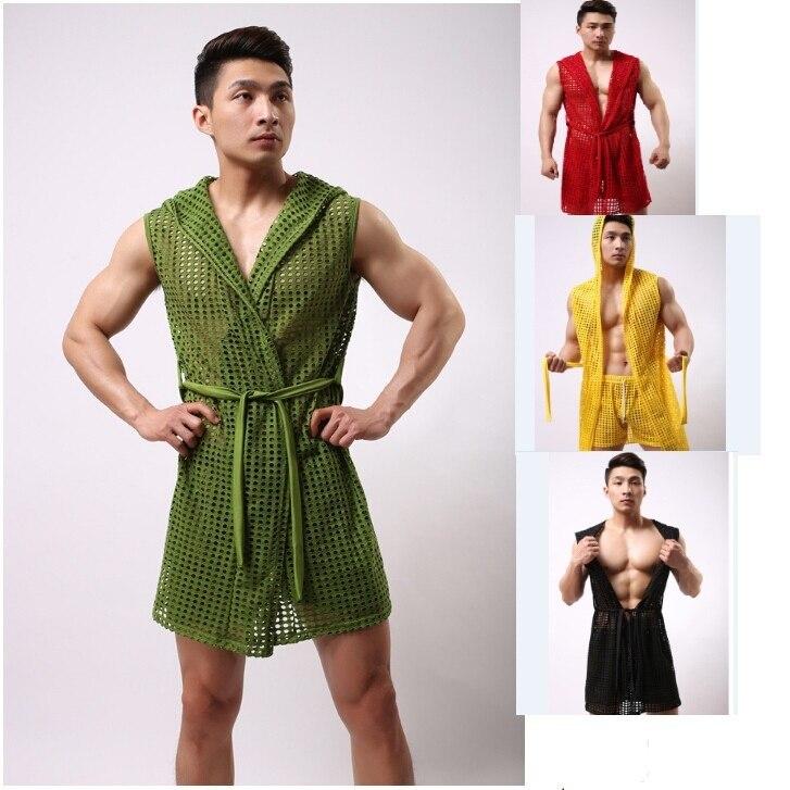 New men's sexy mesh male bath robe sleepwear fashion clothes 6 colors size S/M/L fitness bodybuilding bathrobe Nylon
