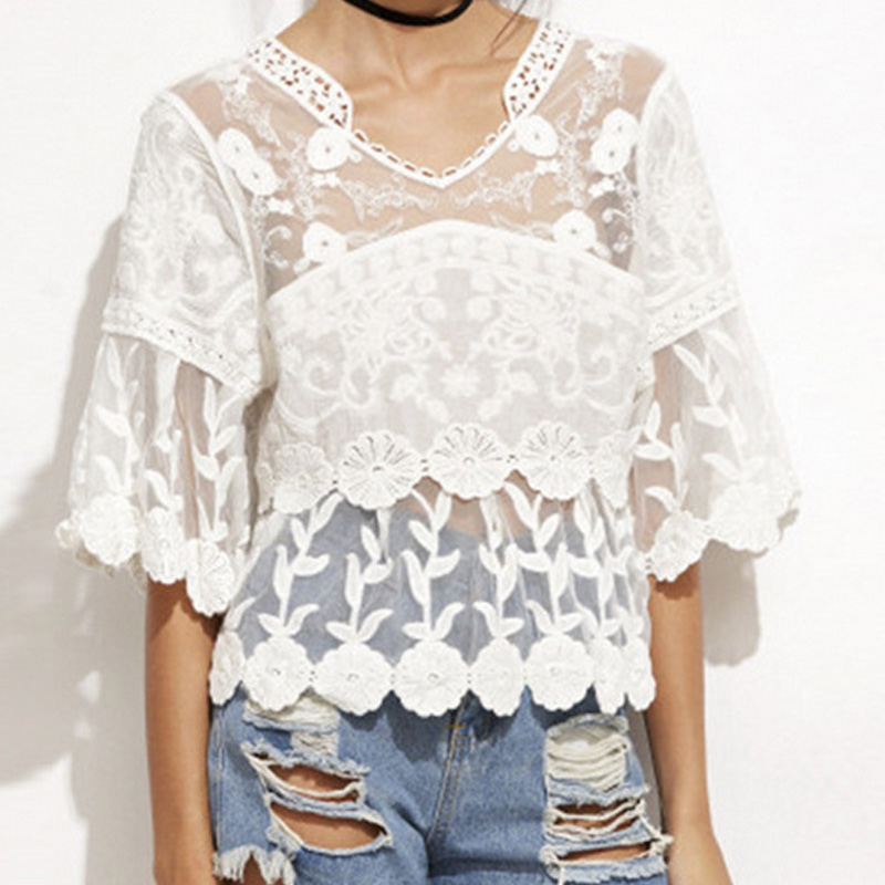 Spring Summer Women Lace Embroidery  Shirts O-neck Half Sleeve Loose Ruffles Shirts Tops  FS99