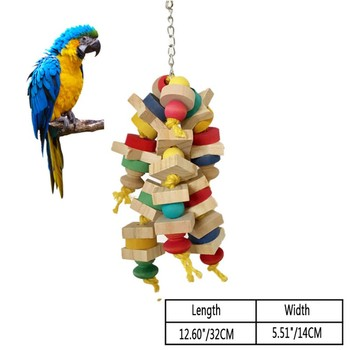 Arrival Wood Colorful Parrot Toys Chew Toy Pet Bird Toys Hanging Swing Cage Toys For Parrots Pet Bird Random Color 5
