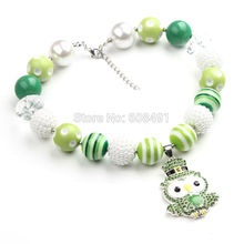 St. Patrick Day 1PC Chunky Beads Necklace Owl Pendant Chunky Bubblegum Necklace Party Drees Up Girls Best Gift