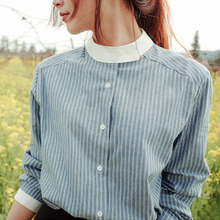 LANOELIY Women's Blouses & Shirts Casual Striped Nine-Quarter Sleeve Shirts Women Tops Ladies Clothing Blusas Femininas CS8A