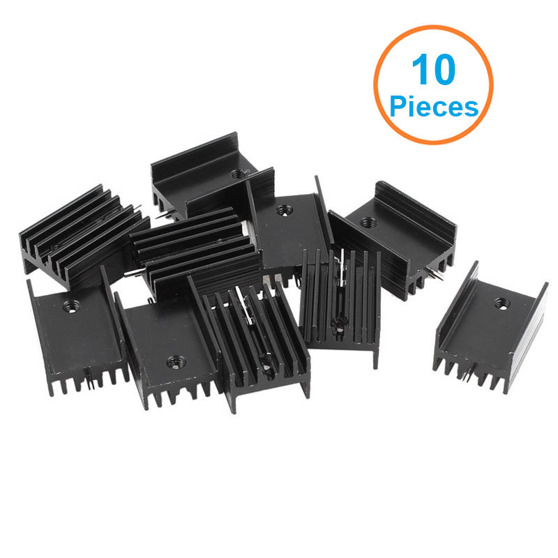 10pcs/lot Black Aluminum 21*15*11mm TO-220 TO220 heatsink radiator for MOS,7805 Triode Transistors Cooler IC Chip dissipation 20pcs lot aluminum heatsink 14 14 6mm electronic chip radiator cooler w thermal double sided adhesive tape for ic 3d printer