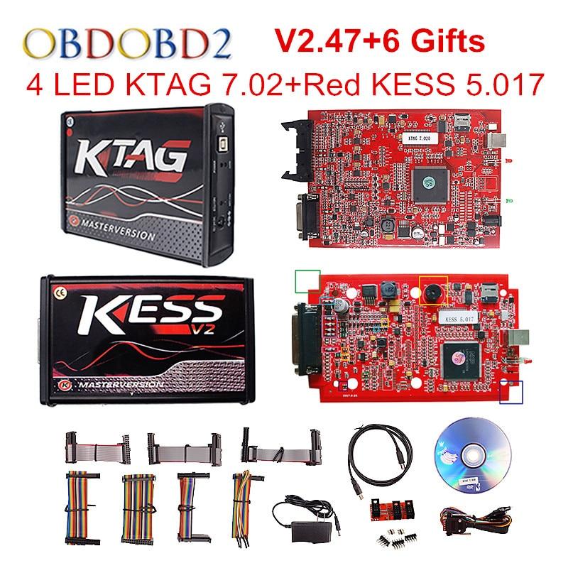 Online V2.47 Red Kess V5.017 OBD2 Manager Tuning Kit EU KTAG V7.020 4 LED Kess V2 5.017 BDM Frame K-TAG 7.020 ECU Programmer цена 2017