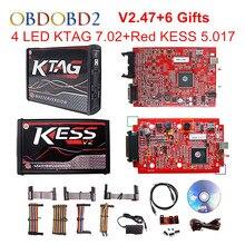 Online V2.47 Red Kess V5.017 OBD2 Manager Tuning Kit EU KTAG V7.020 4 LED Kess V2 5.017 BDM Frame K-TAG 7.020 ECU Programmer