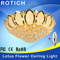 High Quality Lotus Flower Modern Ceiling Light With Glass Lampshade Gold Ceiling Lamp For Living Room