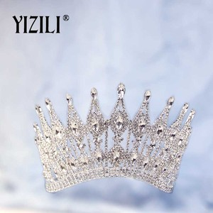 Image 4 - YIZILI חדש יוקרה גדול הכלה חתונה כתר ריינסטון מדהים קריסטל גדול עגול מלכת כתר חתונה שיער אביזרי C070