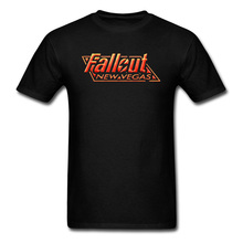цена 2019 Men T-shirt Fallout New Vegas Tshirt Vault Boy Black T Shirt RPG Gamer Punk Letter Print Clothes Cotton Tops Fallout 4 Guys онлайн в 2017 году