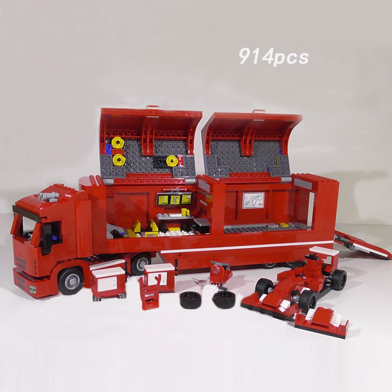 Racing team Speed champion F14 T & Scuderia Italy horse brand truck building block racer figures bricks 75913 toys for kids gift hot fast furious speed championships building block racing driver figures super sports car lepins model bricks toy for kids gift