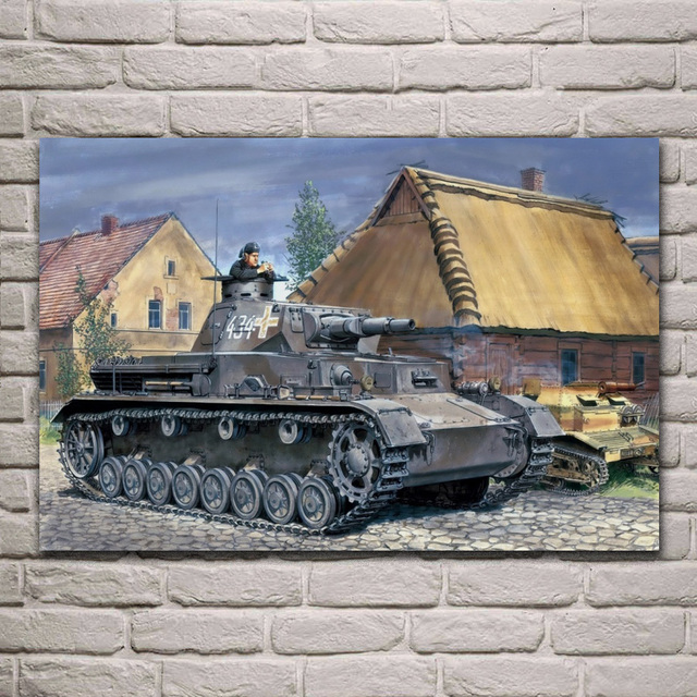 US $7 67 36% OFF|WW2 Ron Volstad Medium Tank Panzer 4 PzKpfw IV Ausf   Wemacht QX075 living room home wall art decor wood frame fabric posters-in