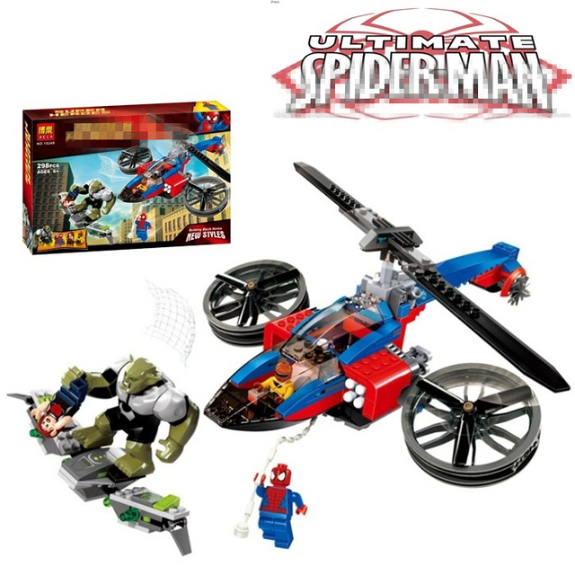 Spider Man Set Green Goblin Spider Helicopter Rescue Building Block ...