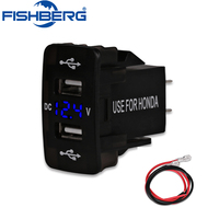 Car 3 1A Dual USB LED Charger Socket Voltage Voltmeter Panel LED Display Universal Car Charger
