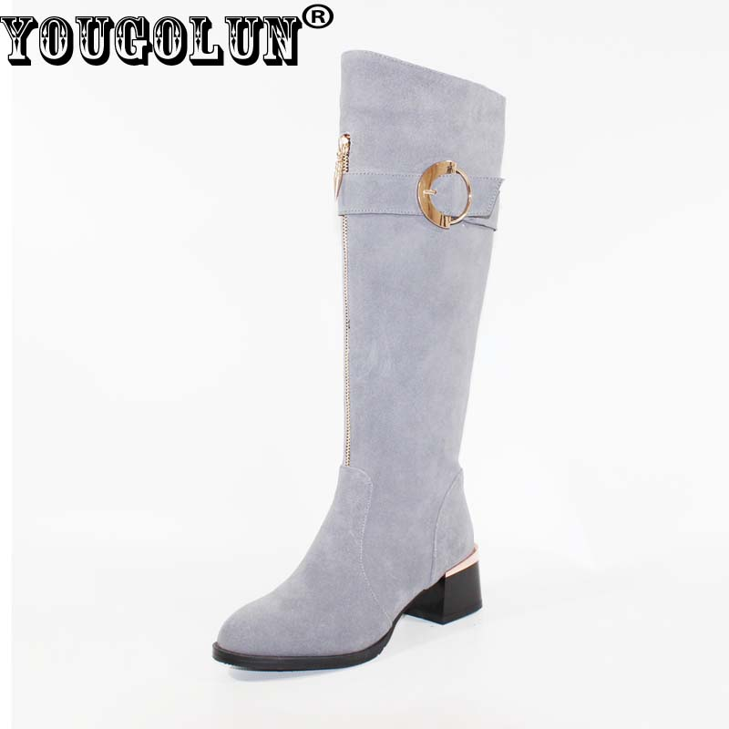 YOUGOLUN Women Knee High Boots 2017 Winter 100 % Full Genuine Cow Suede Nubuck Leather Buckle Thick Heels 5 cm Grey Shoes #Y-196 yougolun woman nubuck winter over the knee snow boots 2018 women thigh high boots ladies square heels thick plush warm shoes