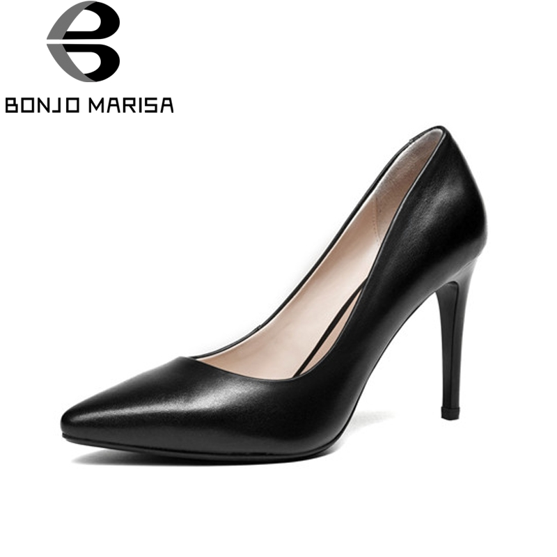 BONJOMARISA Women's Patent Leather Party Wedding Shoes Woman Sexy Pointed Toe High Heels Less Pumps Size 34-39 avvvxbw 2017 pumps high heels shoes woman pointed toe patent leather wedding shoes sexy thin heels shoes sapatos feminino c512